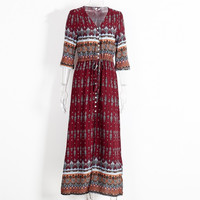 Sexy split boho paisley print dress Women vintage strappy long dress Summer causal maxi beach dress vestidos -03131