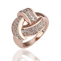 18K Rose Gold Plated Swarovski Element Crystal Pave Safety Knot Cocktail Ring