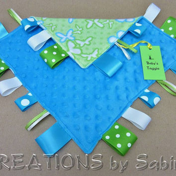Baby Tag Blanket Toy, Ribbon Blankie, Taggie, Sensory, Ribbon Blanket, Lovie, Blue, Turquoise, Green, White, Butterflies, Dots, Minky