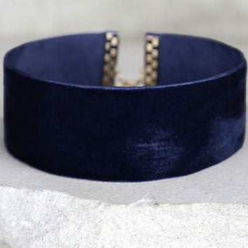 Slay Bae Bae Navy Blue Velvet Choker Necklace