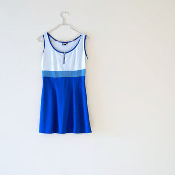Vintage 90s Ombre Blue Sporty Tennis Dress - Clueless Inspired Preppy Mini Dress with Mesh - Cute Short Flirty Skater Skirt - Summer Dress