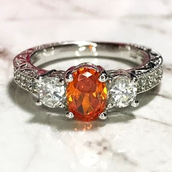 NEW 14k White Gold Layered on Sterling Silver Orange and Silver Stones Ring