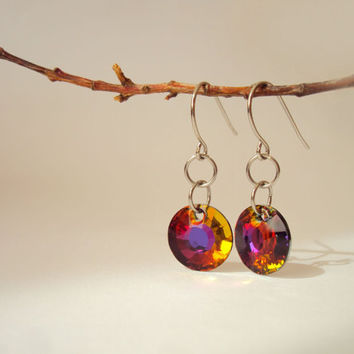 Round Crystal Earrings, Autumn Colors, Everyday Earrings, Geometric Earrings, Orange, Blue, Purple, Green, Golden, Delicate by BijuBrill
