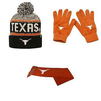 Licensed Texas Longhorns Acid Rain Beanie Hat Knit Gloves And Team Logo Scarf 3Pk 48449 KO_19_1