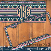 Aztec Tribal Monogram License Plate Frame Holder Metal Sign Zig Zag Car Truck Tags Personalized Custom Vanity Bridesmaid gift navy pink