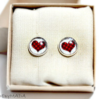 Checkered heart studs Earrings, Free WorldWide Shipping Red Cute Jewelry from MADEbyMADA