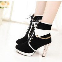 2015 new  women high heels platform pumps casual shoes black white woman mixed colors rhinestone High-heeled shoes ankle boots