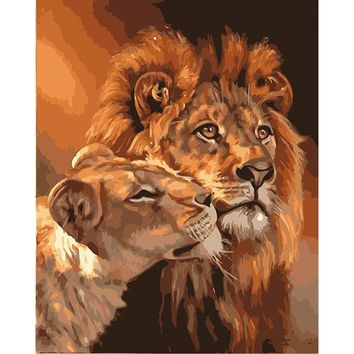 Frameless Lions Family Animals DIY Painting By Numbers Acrylic Picture Modern Wall Art Canvas Painting Unique Gift Home Artwork