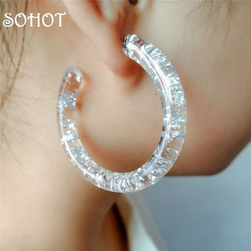 SOHOT New Retro Minimalist Style Tin Foil Clear Acrylic Hoop Earrings Unique Charming Femme Party Bijoux For Birthday Jewelry