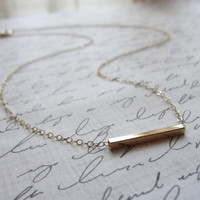 Gold bar necklace - simple bar necklace - modern gold jewelry