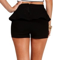 Black Peplum Shorts