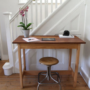 Vintage refurbished Iroko school lab table / desk / kitchen island / workbench - one left!