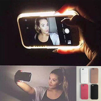 Hot LED Light selfie Phone Case for iPhone X 8 8 Plus 7 7 Plus 5 5S SE 6 6s 6 Plus 6s Plus Case Light Selfie Led Cover 5 colors + Nice Gift Box