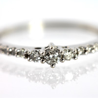1 Diamond Stacking or Midi Ring 14k White Gold
