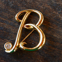 Vintage Initial B Brooch Monet Shiny Gold Tone Rhinestone Script Letter B Monogram 1980's // Vintage Designer Costume Jewelry