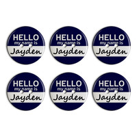 Jayden Hello My Name Is Plastic Resin Button Set of 6