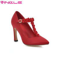 VINLLE Red Ladies Shoes Thin High Heel Woman Pumps Flock Flower T-strap Fashion Spring Women Wedding Shoes Size 34-43