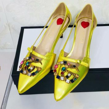 GUCCI:Fashion Bamboo heel Diamond Colorful Double G Pumps Hoolow Sandals Gold