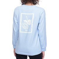 Obey Nobodys Flower Salvage Blue Womens Long Sleeve T-Shirt