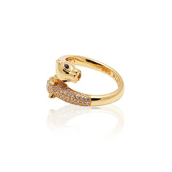 Twisted Panther Ring in Gold