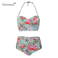 BLESSKISS Super Push Up Bikini Women Swimwear 2017 Print High Waist Swimsuit Plus Size Halter Beach Wear Swim Bathing Suits XXL