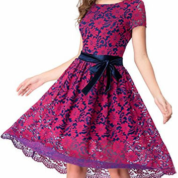 Women's Vintage Floral Lace Contrast Bow Cocktail Party Swing Dress