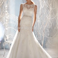 New Design vestidos de novia A-line Sheer Neckline Embelished With Crystal Beads Tulle& Lace Wedding Dress 2016 Bridal Dresses