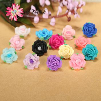 15pc/lot 17mm 3d Beautiful Polymer Clay Fimo 3d Acrylic Rose Flower Beads Fit Bracelet Necklace Applique Patches Diy Accessories