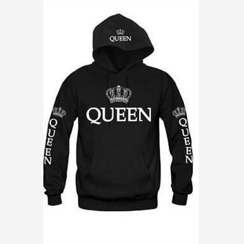 Valentine Couple Hoodies Sweatshirt Crown King Queen Letter Printed Pocket Pullovers Hooded Jackets Tracksuit for Women Men