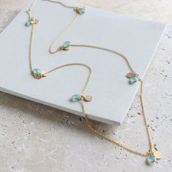 Long Turquoise And Gold Necklace