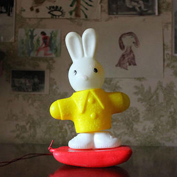 Soviet BUNNY Pull Toy / Cute Plastic Rabbit Toddler Toy, 1970's USSR Vintage Collectible Animal Toy -----> 28cm - 11 Inches Tall
