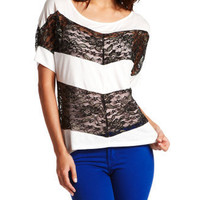 Charlotte Russe - Sheer Lace Panel Top