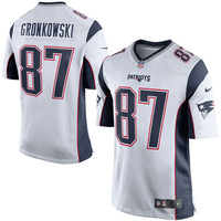 Men's New England Patriots Rob Gronkowski Nike White/Navy Blue Game Jersey
