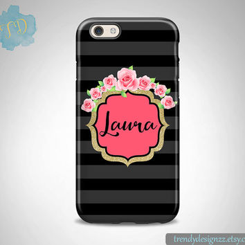 Monogram iPhone case, Samsung Case iPhone case iPhone 6 case 6 plus Samsung S6 Edge S5 S4 Monogram, Faux Gold Glitter Pink Roses (24)