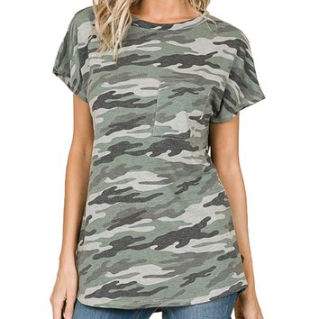 Bombom Camouflage Relaxed Short Sleeve Top