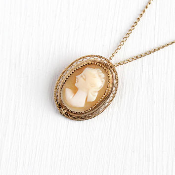 Vintage Cameo Necklace - 12k Rosy Yellow Gold Filled Carved Shell Cameo Pendant - 1940s Oval Filigree Lady Charm on 16 Inch GF Chain Jewelry