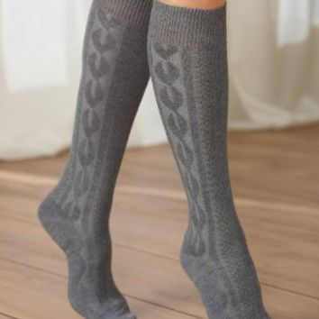 National Cable Knit Knee Socks, 6-pk