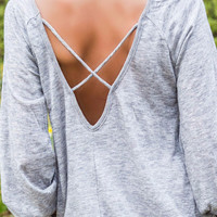Keep Me Close Gray Long Sleeve Criss Cross Back Top