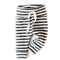 Organic Drawstring Baby Leggings Black Stripes