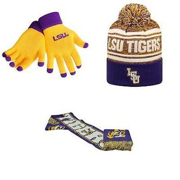 Licensed NCAA LSU Tigers Spirit Scarf Glove Solid Knit And Driven Beanie Hat 3Pk 45240 KO_19_1