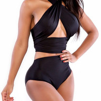 Black Halter Criss Cross Bandage High Waisted Swimsuit