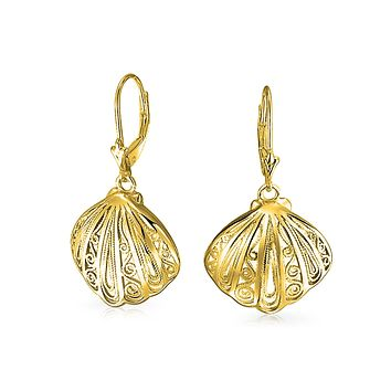 Filigree Leverback Dangle Earrings 14K Gold Plated Sterling Silver