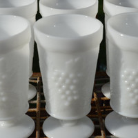 Milk Glass Grape Pattern Goblets-6