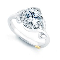Mark Schneider Bloom 1.18cttw halo diamond engagement ring with floral shank