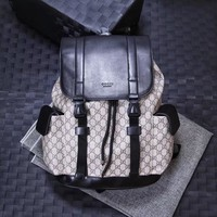GUCCI GG CANVAS AND LEATHER BACKPACK BAG