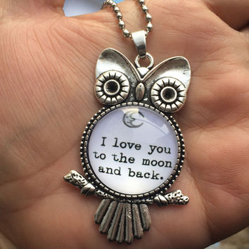 Owl I Love You to the Moon and Back Necklace jewelry hippie girls womens