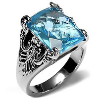 Blue Belle - FINAL SALE Fine Detailed Stainless Steel  Band with Blue Topaz Cubic Zirconia
