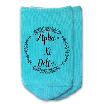 Alpha Xi Delta - Sorority Name with Wreath No-Show Socks