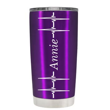 Personalized Heart Beat Pulse on Translucent Violet 20 oz Tumbler Cup
