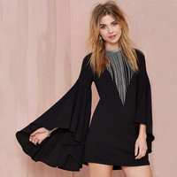Black Ruffled Wide Long Sleeve Dress